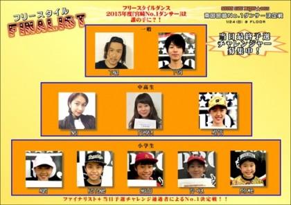 ダンスバトルSSN2015決勝大会宮崎No.1ダンサー決定戦ファイナリスト