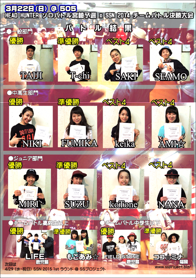HEAD HUNTERソロバトル宮崎予選 x SSN 2014決勝大会